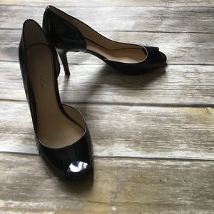 Marc fisher black patent joey peep toe pumps